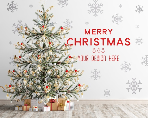 Wallpaper mockup with christmas tree and gift boxes