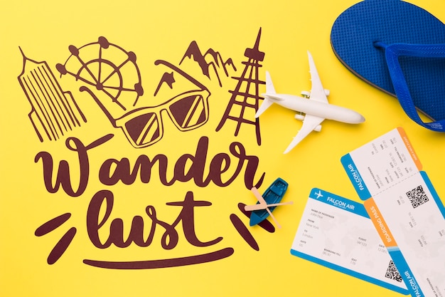 Wander lust lettering with boarding pass, airplane, canoe and flip flop