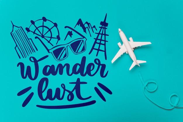 さまよう欲望、休日の旅行の概念のためのやる気を起こさせるレタリング引用