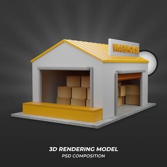 倉庫の3dレンダリングモデル