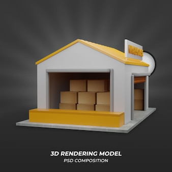 正面図の倉庫3dレンダリング