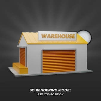 側面図の倉庫3dレンダリング