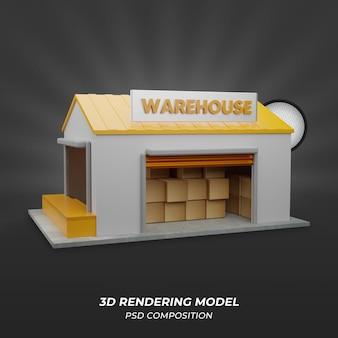 側面図による倉庫の3dレンダリング