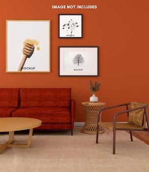 Теплая гостиная с рамкой для макета на оранжевой стене