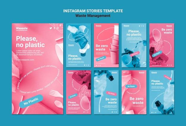 Modello di storie di instagram per la gestione dei rifiuti