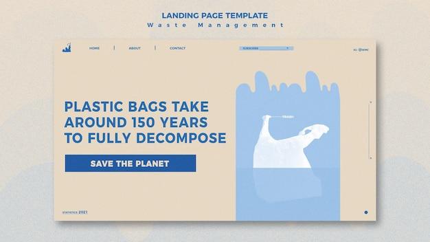 Waste management landing page design template