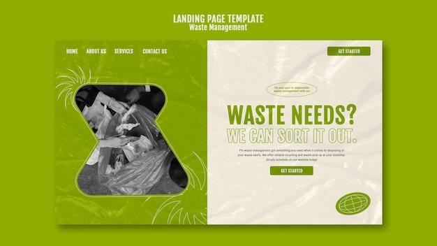Modello di progettazione della pagina di destinazione della gestione dei rifiuti