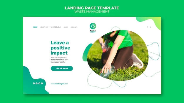 Waste management landing page post design template