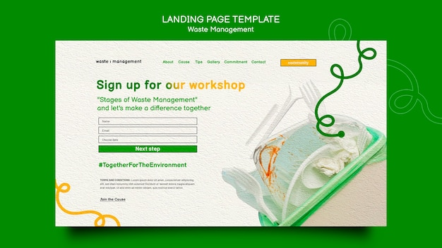 Waste management landing page template