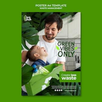 Modello di progettazione del poster per la gestione dei rifiuti