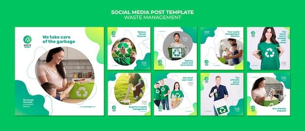 폐기물 관리 소셜 미디어 포스트 디자인 템플릿