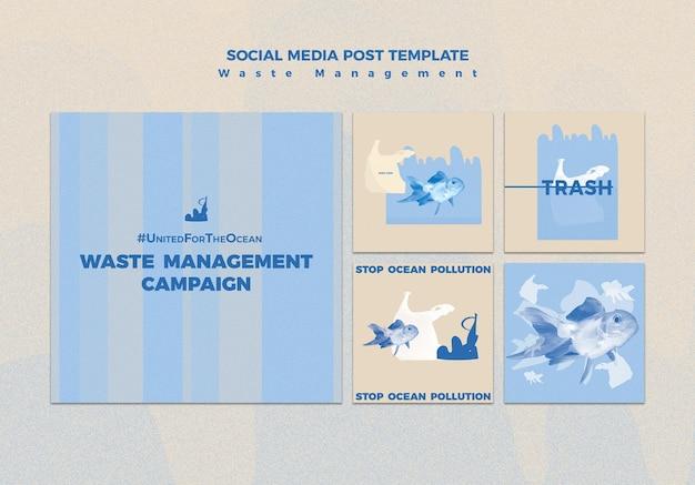 廃棄物管理ソーシャルメディア投稿テンプレート