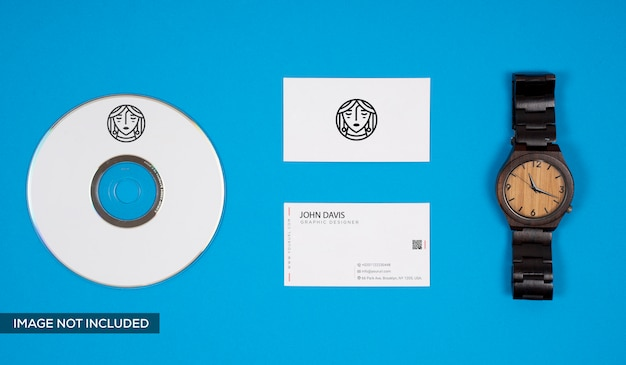 Watch and business card mockup