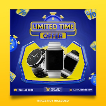 Watch limited time offer 3d render social media post template