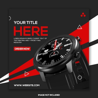 Watch product social media square promotional template