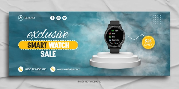 Watch sale facebook cover web banner template