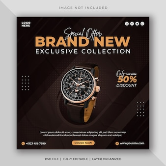 Watch sale social media post and instagram banner template