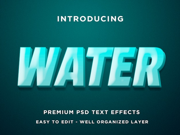 Water 3d text effect