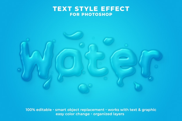 Water 3d text style effect psd template