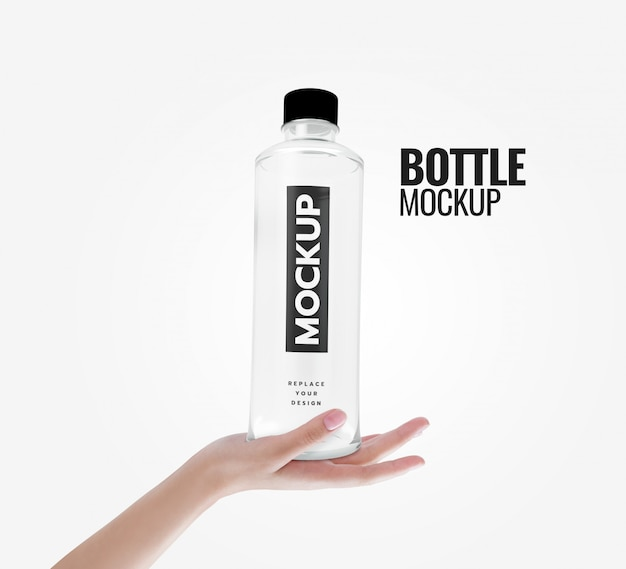 Water bottle on hand mockup