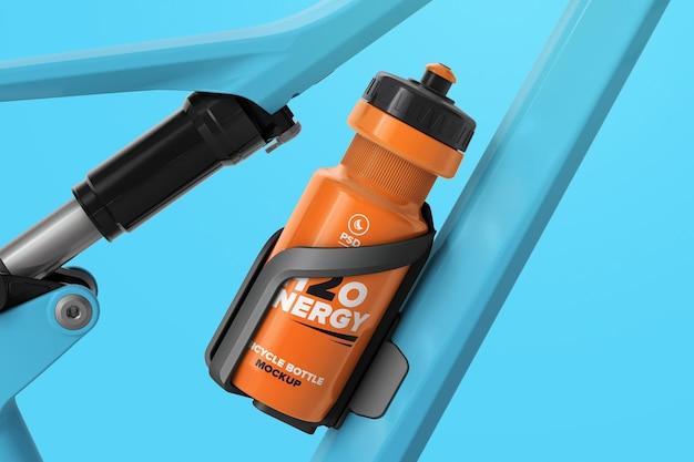 Water bottle in holder on bike frame mockup