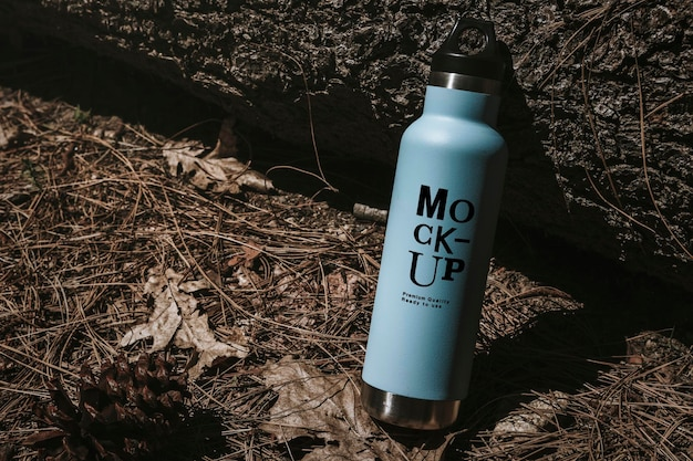 Water bottle mockup in the forest