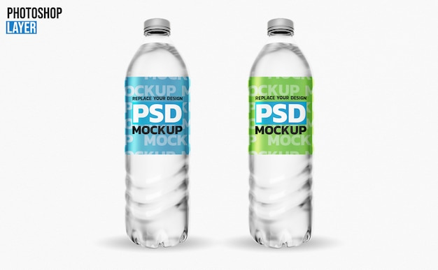 Water bottles 3d rendering mockup