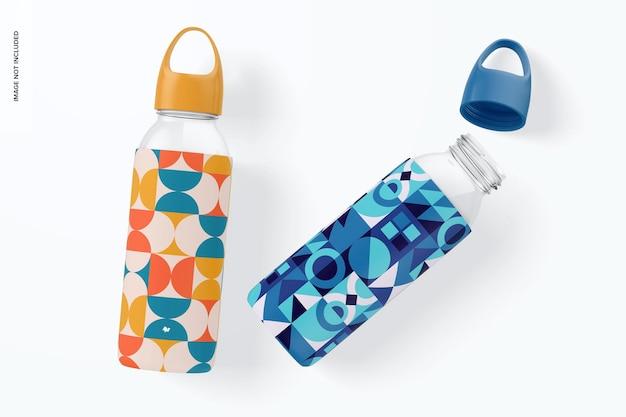 Bottiglie d'acqua con mockup di maniche in silicone, vista dall'alto