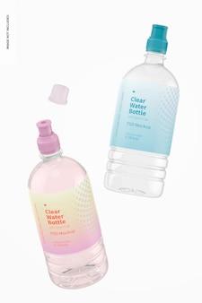 Bottiglie d'acqua con tappo sportivo mockup, galleggiante