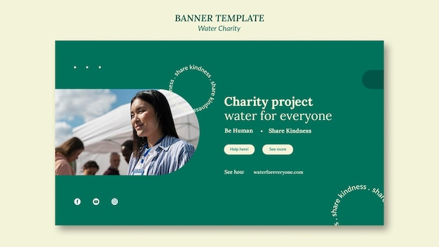 Modello di progettazione di banner di beneficenza per l'acqua