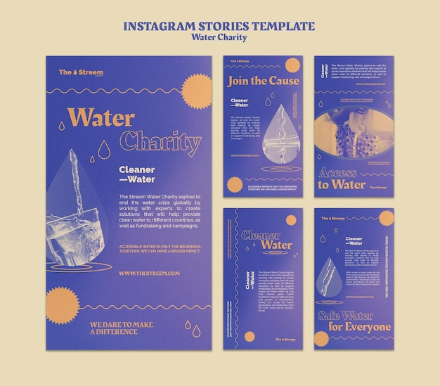Storie instagram di beneficenza per l'acqua