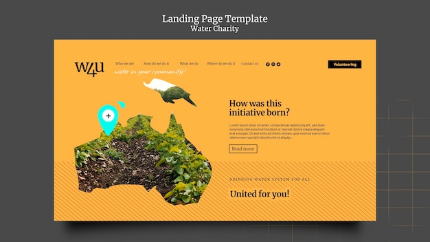 Water charity landing page design template