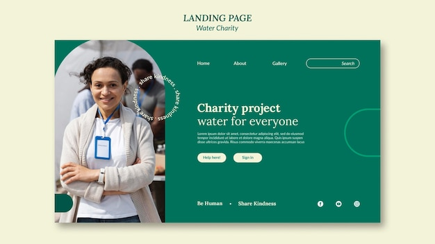 水チャリティーランディングページのデザインテンプレート