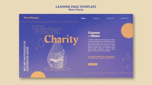 Pagina di destinazione di beneficenza per l'acqua