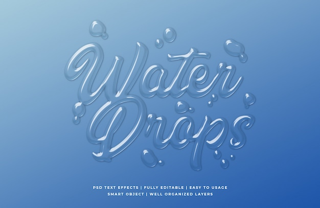 Water drop 3d text style effect template