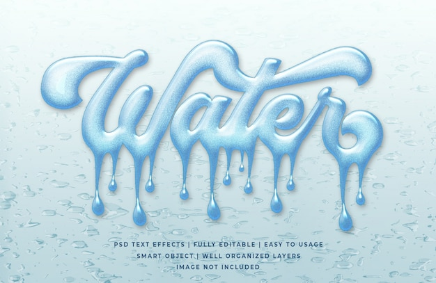 Water dropped 3d text effect template