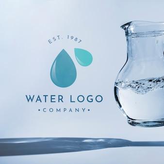 Water logo mockup on copyspace