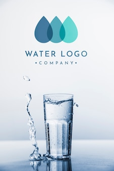 Water logo mockup on copyspace