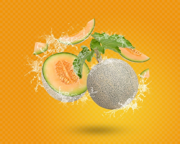 Water splash on fresh cantaloupe with leaves isolated