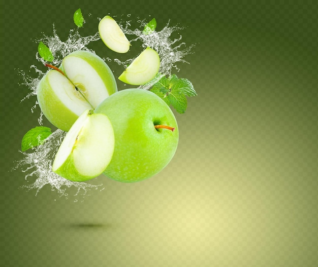 Water splash on fresh green apple with mint leaves