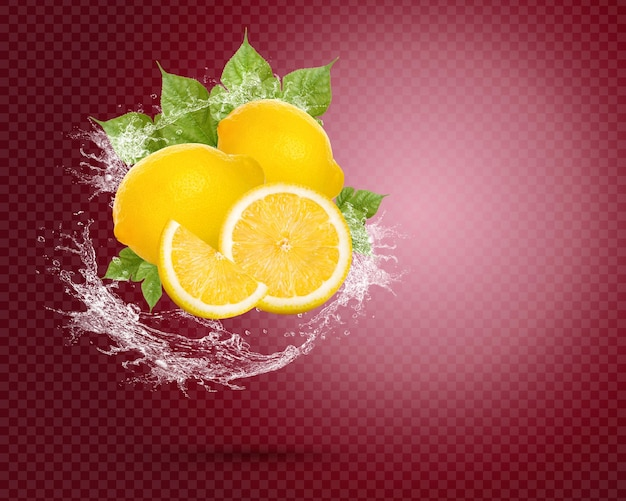 Water splash on fresh lemon with leaves isolated on red background premium psd
