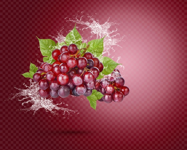 Water splash on fresh red grape with leaves isolated