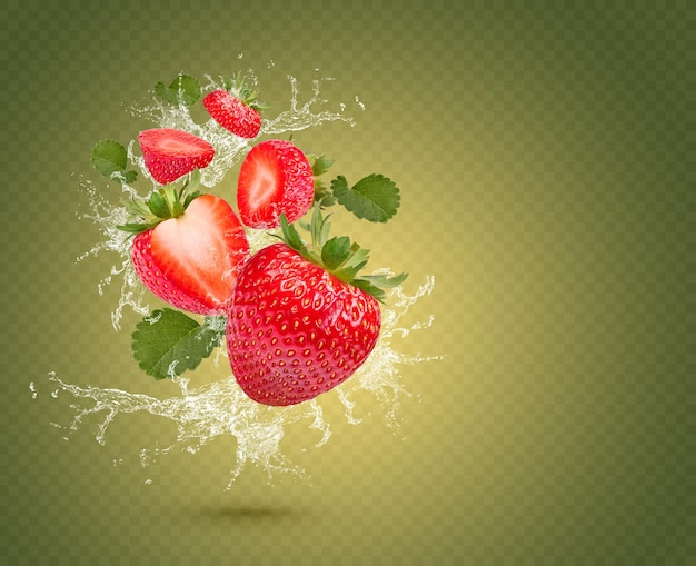 Water splash on fresh strawberries with leaves isolated