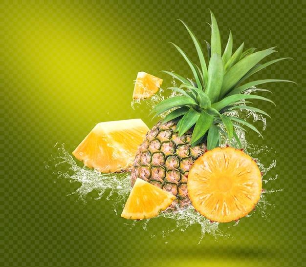 Всплеск воды на свежем ананасе с листьями, изолированных на зеленом фоне premium psd