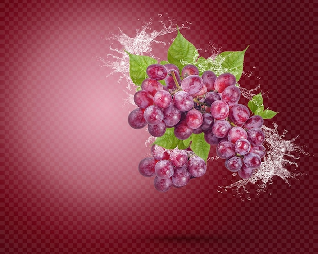 Плеск воды на свежем красном винограде с листьями, изолированными на красном фоне. премиум psd