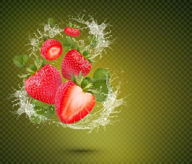 녹색 배경에 고립 된 잎으로 신선한 딸기에 물 튀김 premium psd