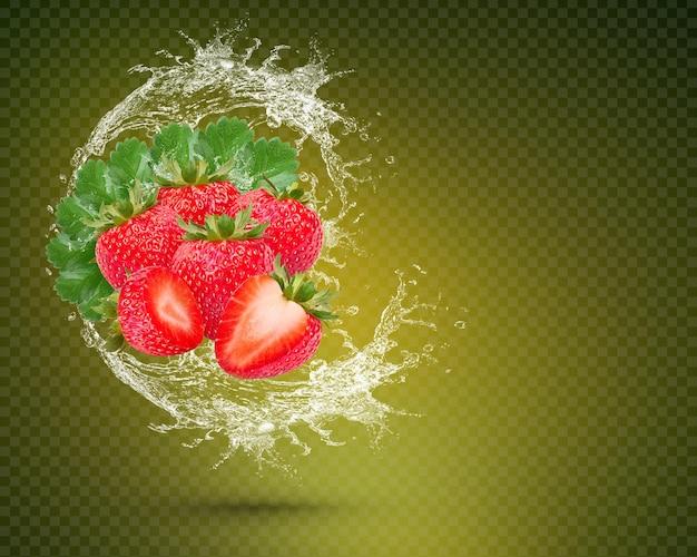 녹색 배경에 고립 된 잎 신선한 딸기에 물 튀김 premium psd