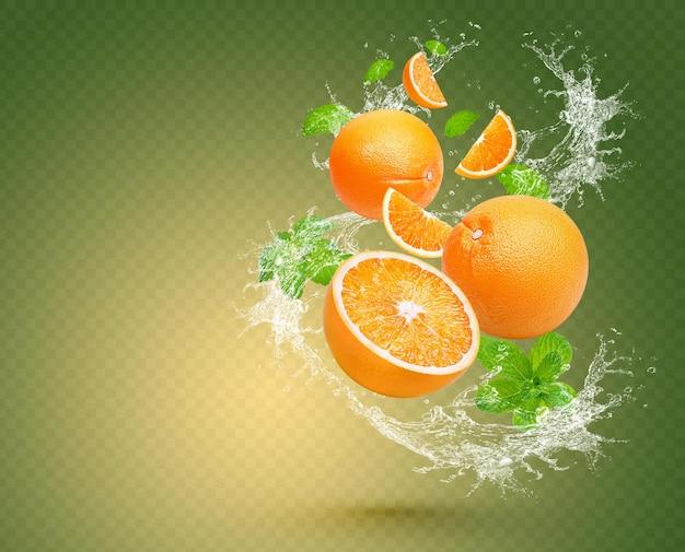 ミントが分離されたオレンジ色の水しぶき