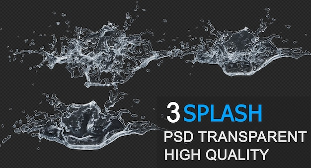 Water splash with droplets pack design isolated design
