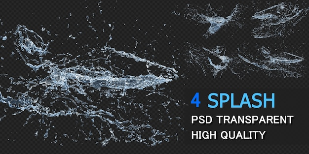 Water splash with droplets pack design isolated
